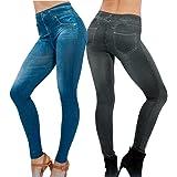 Lot de 2 Leggings Noir + Bleu Femme Jeggings Slim Collant Extensible Push Up Fesse Treggings Pantalon de Crayon Cigare Automne Hiver