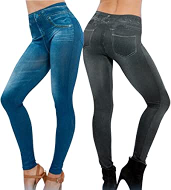 2Pcs Leggings Leggins Jeggings Vaqueros Pantalones Elásticos para Mujer Azul y Negro