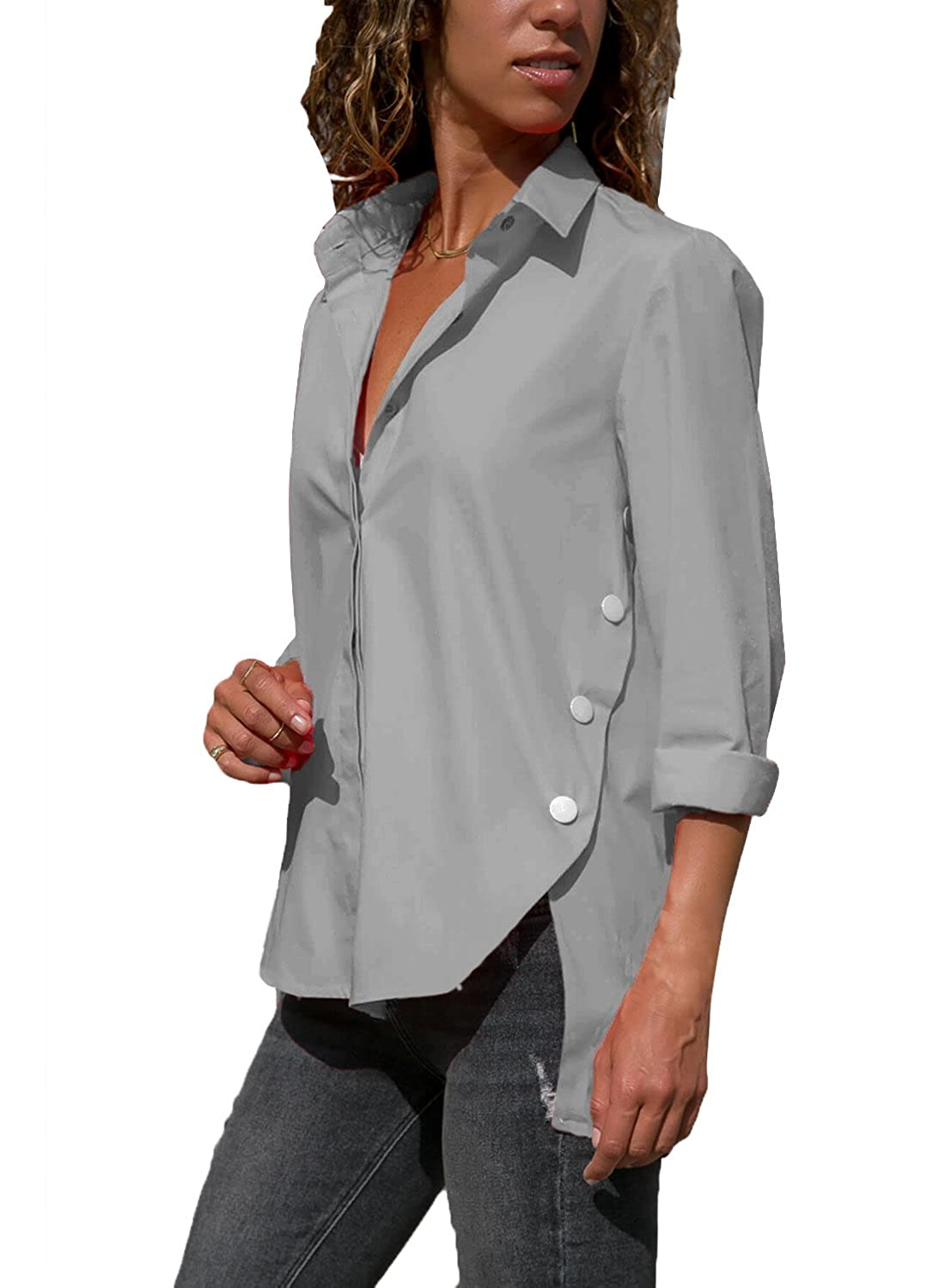 02d9981b3a8549 Womens Casual Long Sleeve T Shirt Button Down Henley Blouse V Neck Solid  Side Slit Tops Feature  Roll-Up Long Sleeve