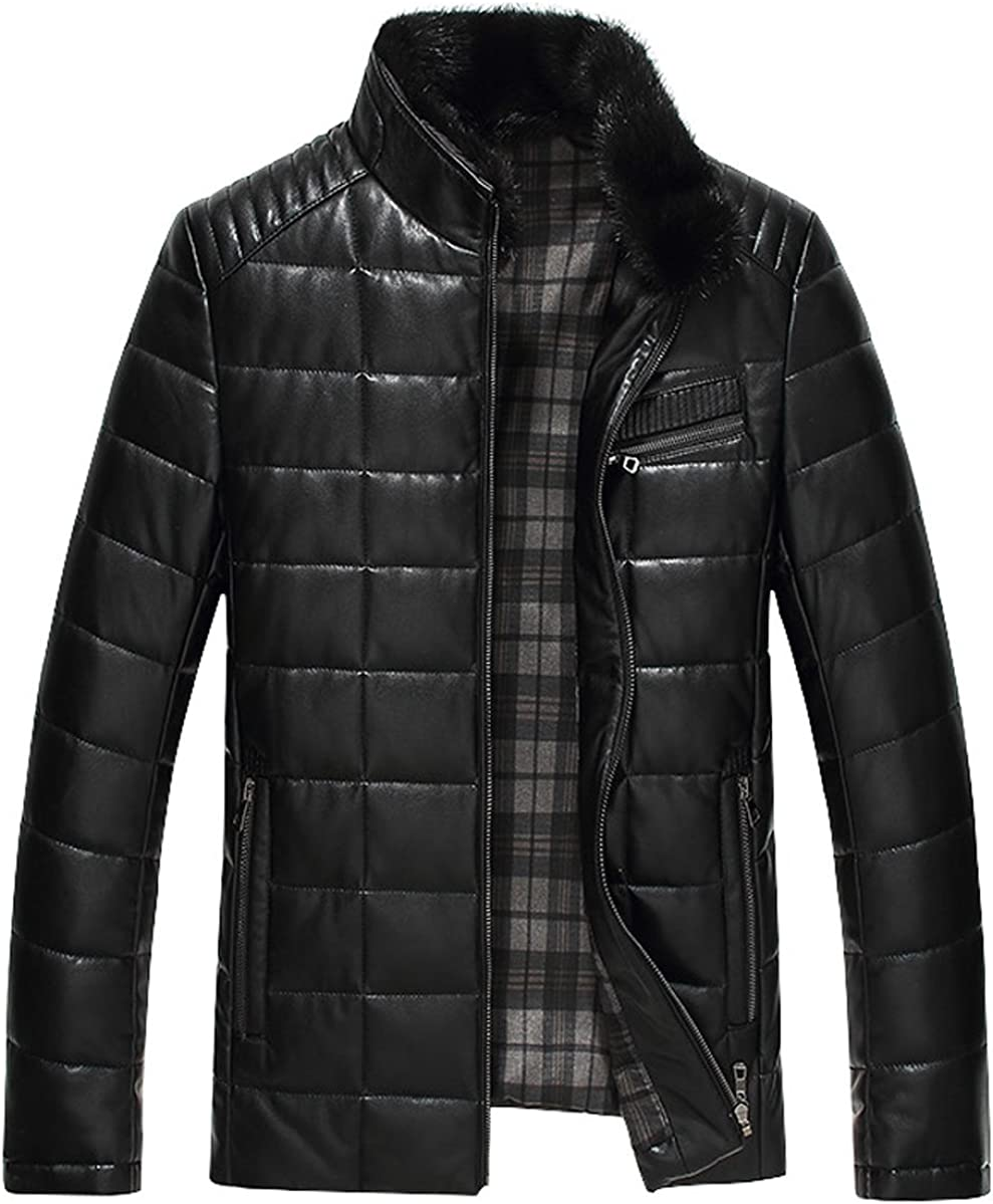 Springrain Mens Slim Stand Collar Leather Down Outerwear Jacket with Detachable Fur Collar
