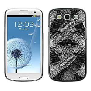 Colorful Printed Hard Protective Back Case Cover Shell Skin for SAMSUNG Galaxy S3 III / i9300 / i747 ( Eye Owl Mysterious Feathers Art Pencil ) Kimberly Kurzendoerfer
