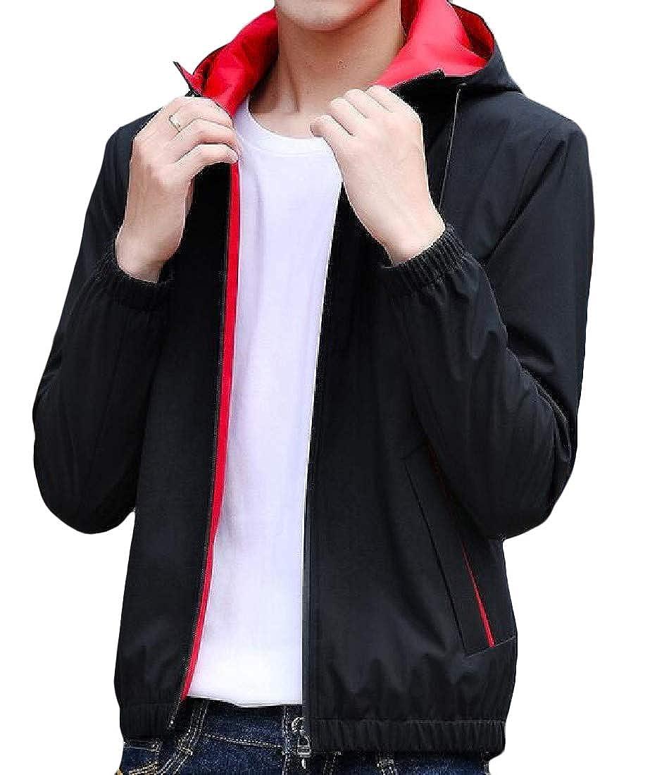 Black2 Lutratocro Men's Men's Men's Vogue Zip-Front Hooded Casual Lightweight Jackets Coat 46a4fa
