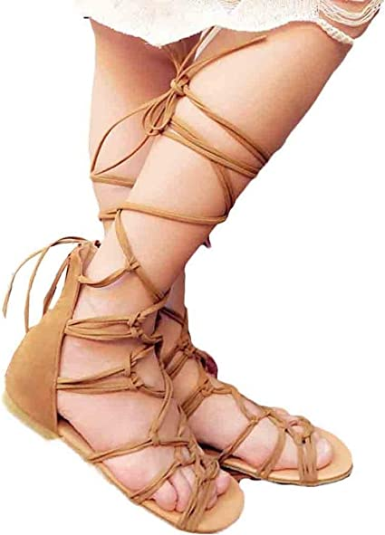Womens ladies flat tie up lace up wrap around strappy knee high sandals size