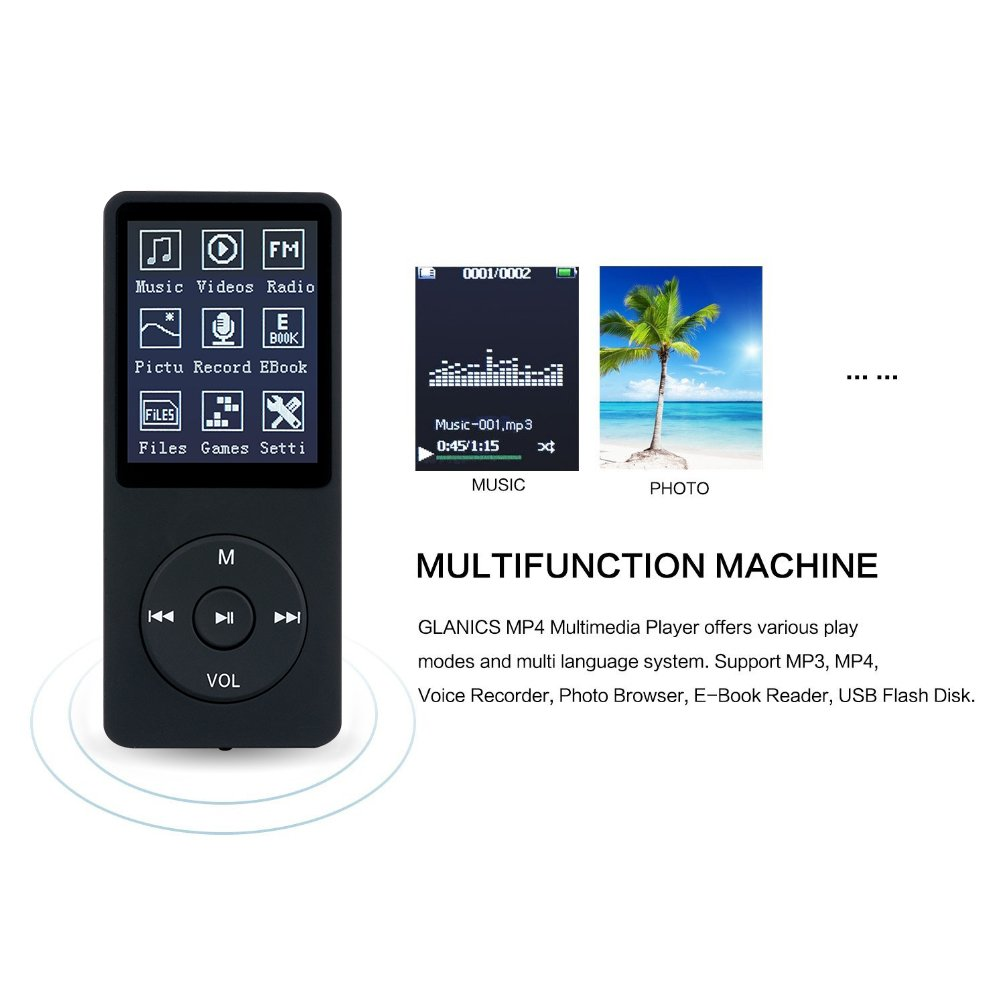 Amazon com: MP3 Player, GLANICS 8GB MP3/ MP4 Player with 32G TF Card
