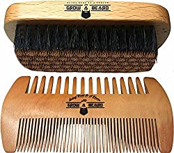 Beard Brush and Comb Set for Men - Friendly Gift Box And Cotton Bag - Best Bamboo Beard Grooming Kit for Home and Travel - Great for Dry or Wet Beards - Adds Shine and Softness.