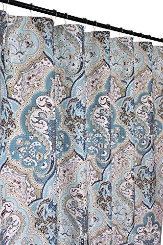 (Victoria Classics Calais Dobby Fabric Shower Curtain: Ikat Floral Design (Blue-Brown-White))