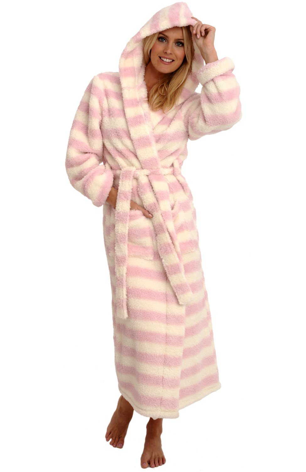 Alexander Del Rossa Womens Fleece Robe, Long Plush Hooded Bathrobe, Small Medium Cream and Pink Striped (A0304P10MD)