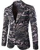 Moollyfox Chaqueta de Traje para Hombre Casual Camuflaje Estampada Traje Blazer
