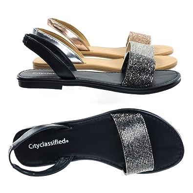 a37085c26 City Classified Rhinestone Crystal Embellished Flat Open Toe Summer Sandal  w Sling Back 5.5 M US