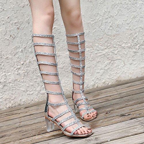 Moda zzf WL Vaciado Summer Venda Botas Y Aspero Heels New Boots Pies Los De High silvery Dedos RvqAxvgwC