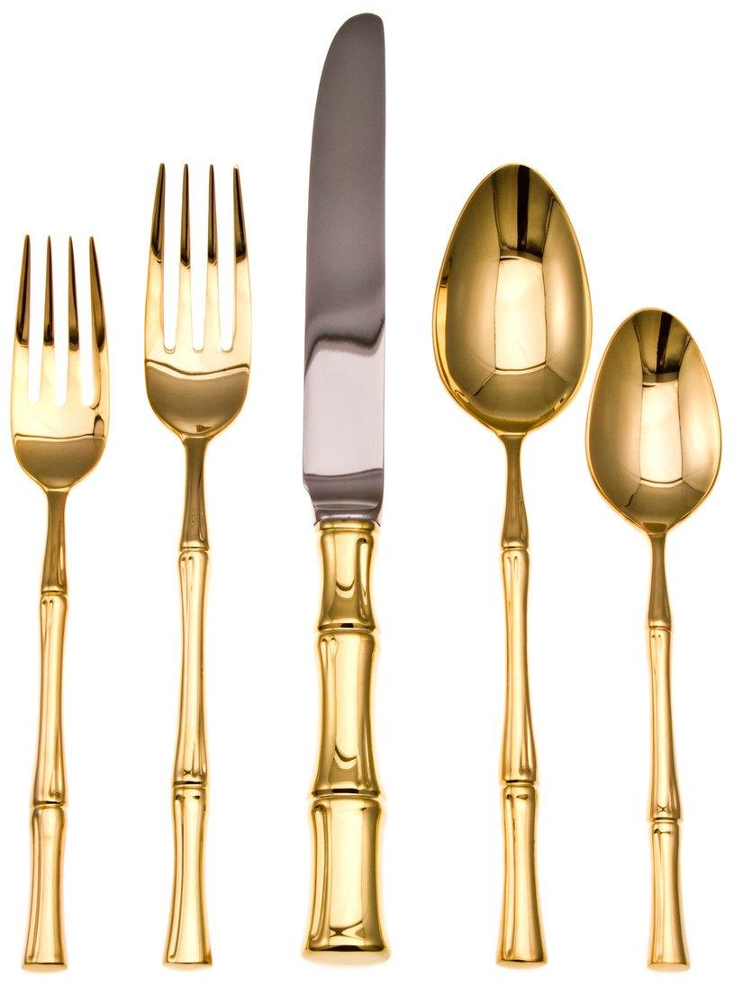 Gold Plated Bamboo Doro 20-Piece Flatware Set - ChristmasTablescapeDecor.com