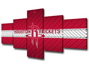 Native American Decor The Houston Rockets Logo Paintings NBA Pictures Basketball Sport Wall Art 5 Piece Canvas Modern Artwork Giclee Home Decor for Living Room Framed Ready to Hang - 50''Wx24''H