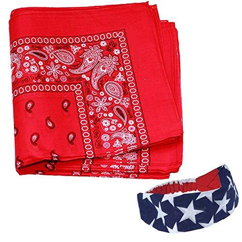 12-red-paisley-cotton-bandanas-plus-afree-american-flag-bandana-headband