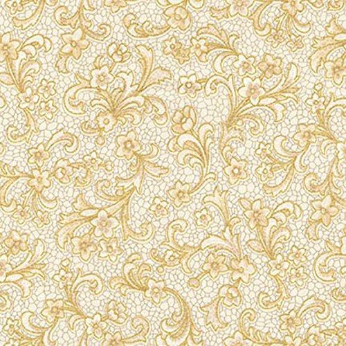 Robert Kaufman Villa Romana Mosaic Ivory Floral Scroll (Roman Scroll)