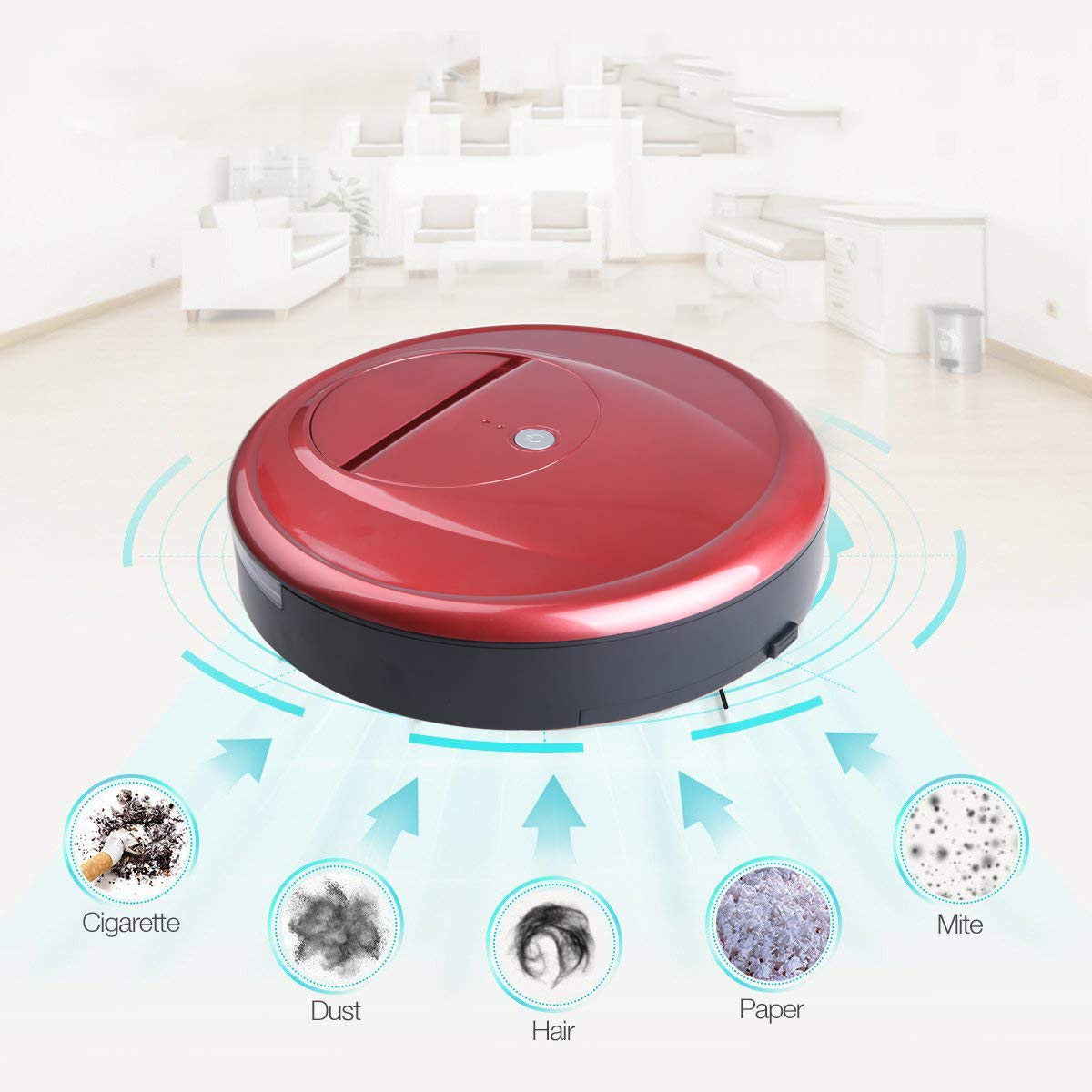 Robot aspirador automático inteligente limpiador balayer alfombra piso regalo rojo