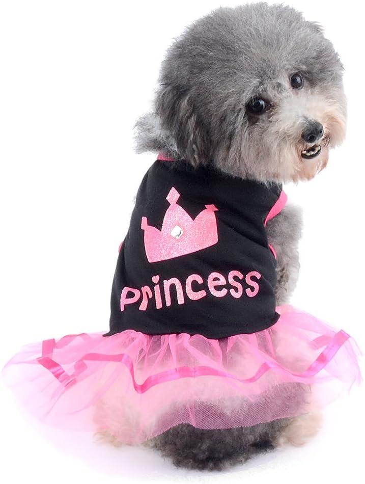 Ranphy Falda pequeña para Perro, Gato, Chihuahua, Ropa para niñas, Vestido de Princesa Corona para Cachorro, Verano, Rosa y Blanco