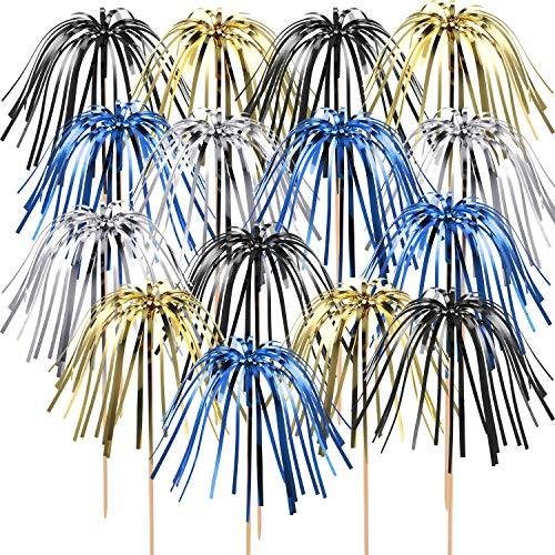 - TecUnite 100 Pieces Foil Frill Firework Cupcake Picks Christmas Cupcake Topper 9 Inch Coconut Tree Shape, Food Picks Supplies Party Decoration (Gold, Silver, Blue, Black)