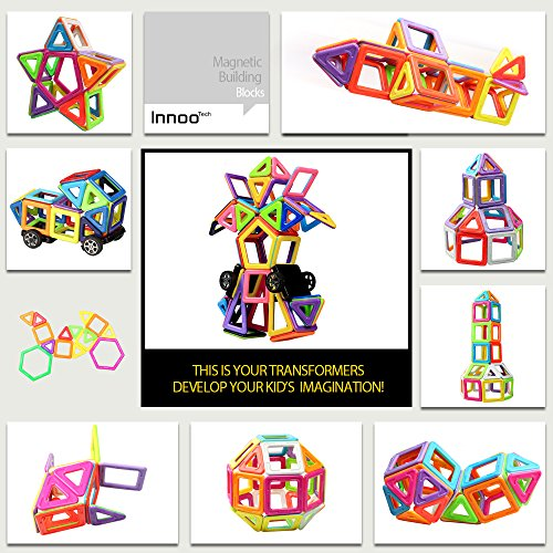 Innoo Tech Magnetic Building Blocks | 76Piece | Let Your Kid Learn Colors & Shapes Through Play | Instruction Booklet & Storage Bag Included | Creative & Educational Gift for Kids by Innoo Tech (Image #6)