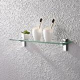 glass bathroom shelves chrome - KES Tempered Glass Shelf, Bathroom Shelf with 19.6 Inch Rectangular Glass (8mm Thick) Wall Mount, Polished Chrome, BGS3201