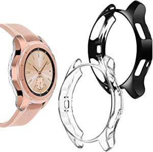Goton Compatible Samsung Galaxy Watch 42mm Case 2018 (for SM-R815 and SM-R810), (2 Packs) Soft TPU Smart Shockproof Case Cover Bumper Protector (Clear and Black, 42mm)