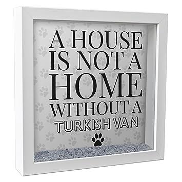 Una casa no es un hogar sin un gato Van turco 25 cm cristal caja marco de fotos vinilo impresión Idea de regalo gatos 49: Amazon.es: Hogar