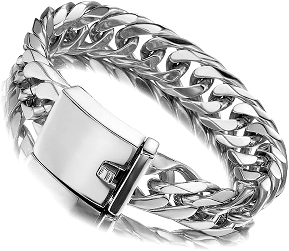 Jxlepe Miami Cuban Link Chain Bracelet 16mm Big Silver White Stainless Steel Curb Bangle for Men