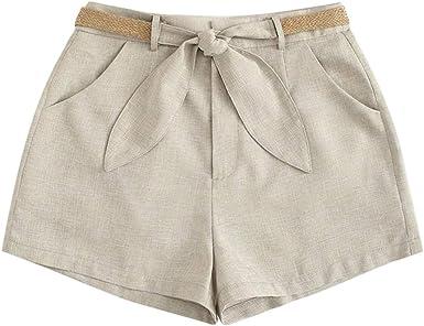 cinnamou Pantalones Mujer, Pantalones Cortos De Lino Y Algodon con ...