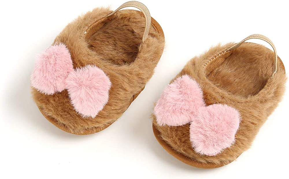 Baby Boy Girl Sandals Loafer Fluff Fur Slide Flat Shoes Anti-Slip Cute Slippers Soft Sole Crib Shoes