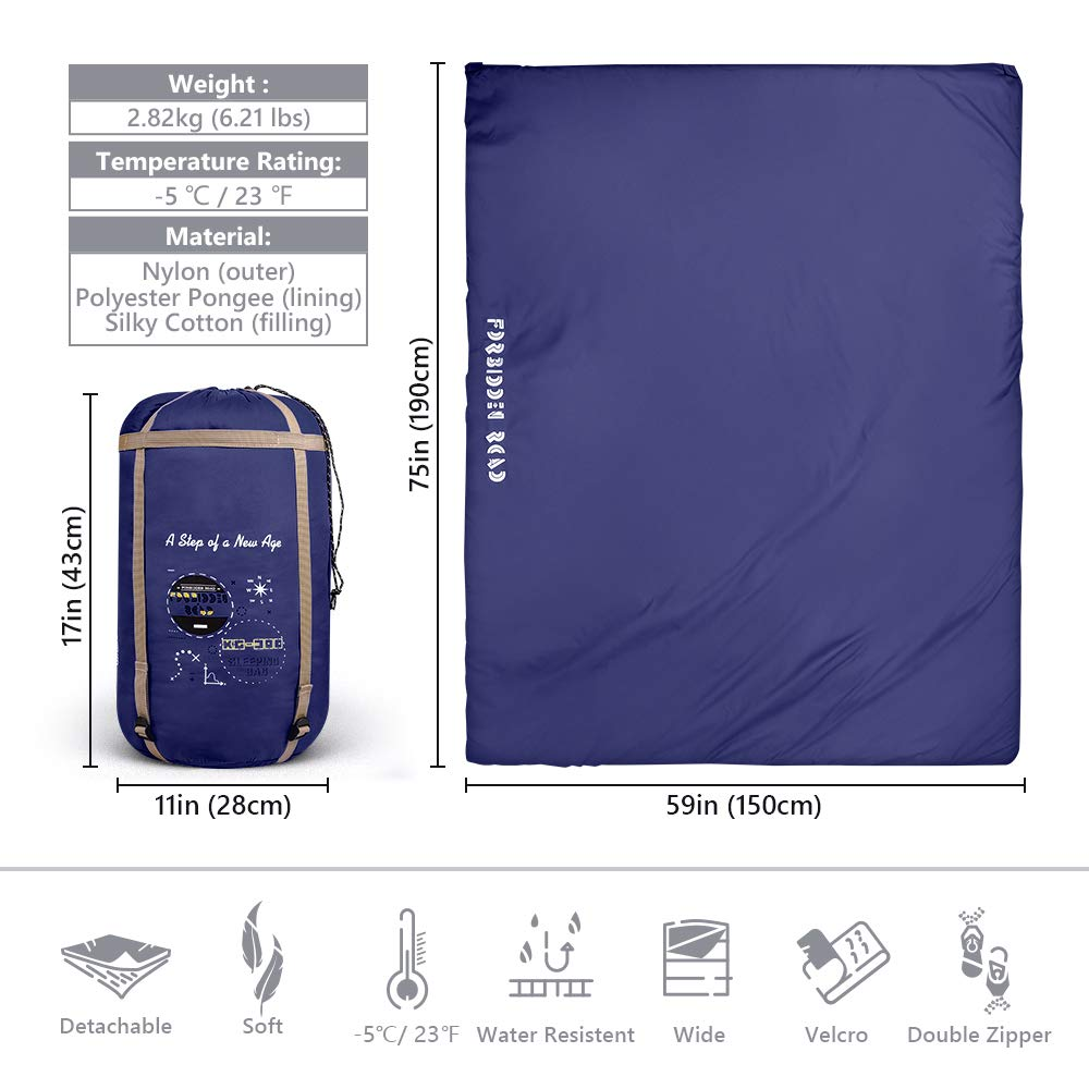 Forbidden Road Double Sleeping Bag Winter 30 60 2 Person Water Resistent Lightweight Envelope Sleeping Bags 380T Nylon with Free Carrying Bag Perfect for 4 Season Camping Backpacking Hiking
