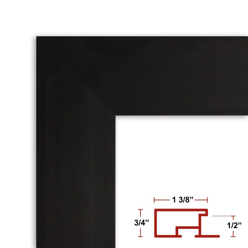24 x 48 Satin Black Poster Frame - Profile: #99 Custom Size Picture Frame by Poster Frame Depot