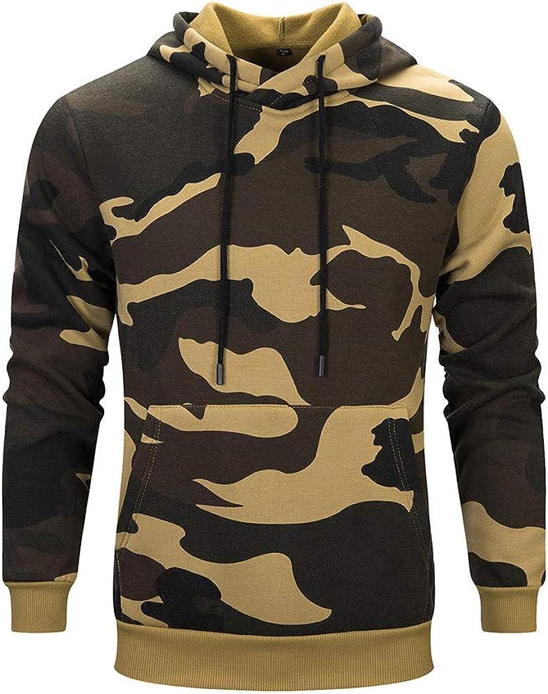 Lightweight Long Sleeve Pullover Sweatshirt Slim-Fit Fleece Hoodies LIUguoo Camouflage Hoodies for Men