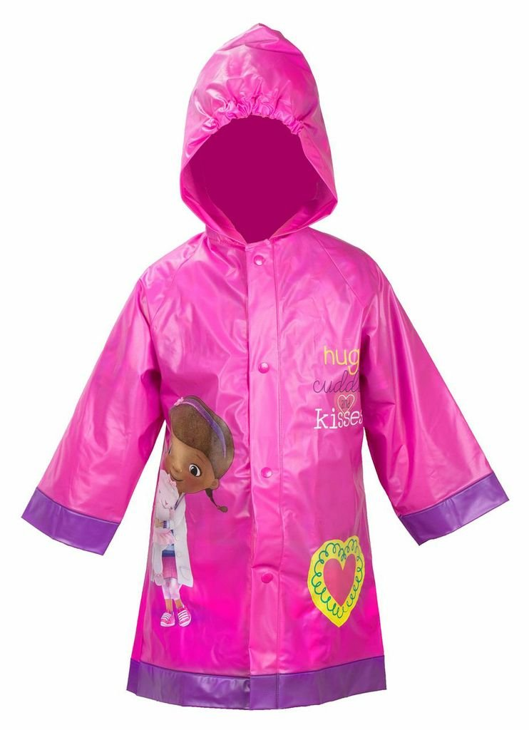 Doc McStuffins Girls Pink Rain Slicker Raincoat (L(6/7))