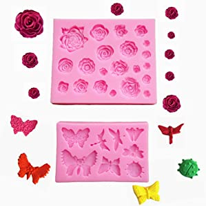 2 Pack Fondant Silicone Molds, Rose Flower mold, Butterfly, Dragonfly Baking Molds Set for Making Chocolate, Candy, Polymer Clay, Resin Epoxy, Cake Decoration and DIY Projects