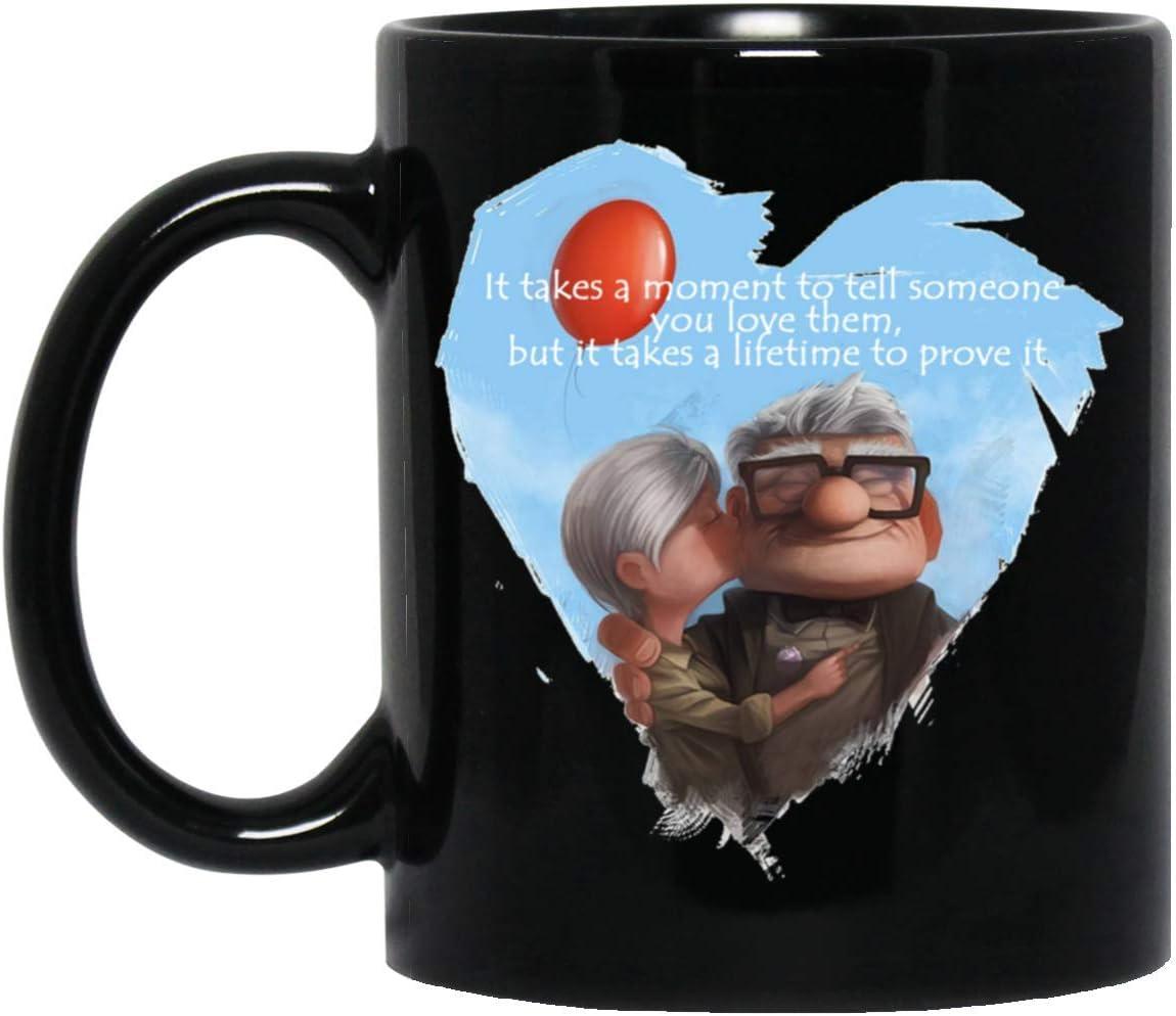 UP Carl Ellie To My Husband No Matter What Happens Black Ceramic Coffee Mug