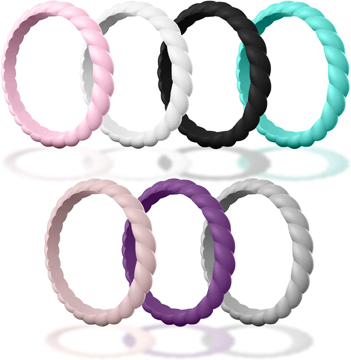 Made for Her DSZ Stackable Silicone Wedding Ring for Gym Sports Outdoor Women Durable Rubber Band Pack of 3-7-10