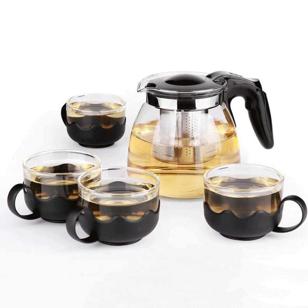Tetera LXF Vidrio Resistente al Calor Filtro Juego de té Juego de té té Negro (Color : B)