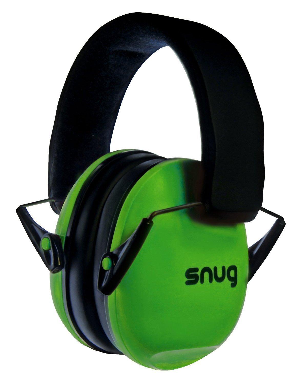 Snug Kids Earmuffs / Hearing Protectors – Adjustable Headband Ear Defenders For Children and Adults (Green)
