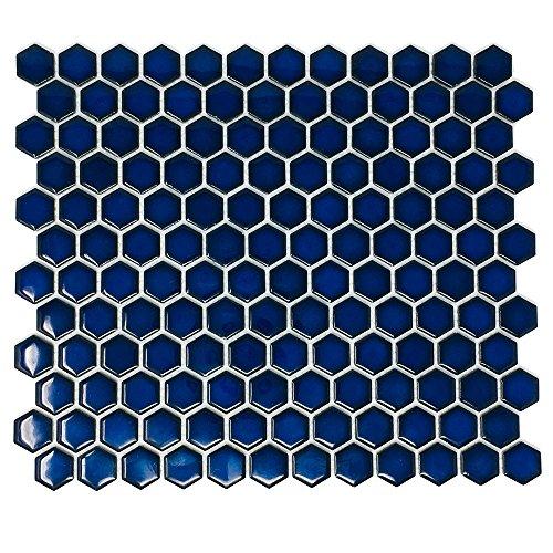 Hexagon Cobalt Blue Porcelain Mosaic Tile Glossy Look 1'' Inch ( Box of 10 Sheets), Floor and Wall Tile, Backsplash Tile, Bathroom Tile on Mesh for Easy Installation Blue Porcelain Tile