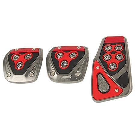 Dcolor Cubierta de Pedal Antideslizante 3 Piezas para MT Coche - Rojo Negro