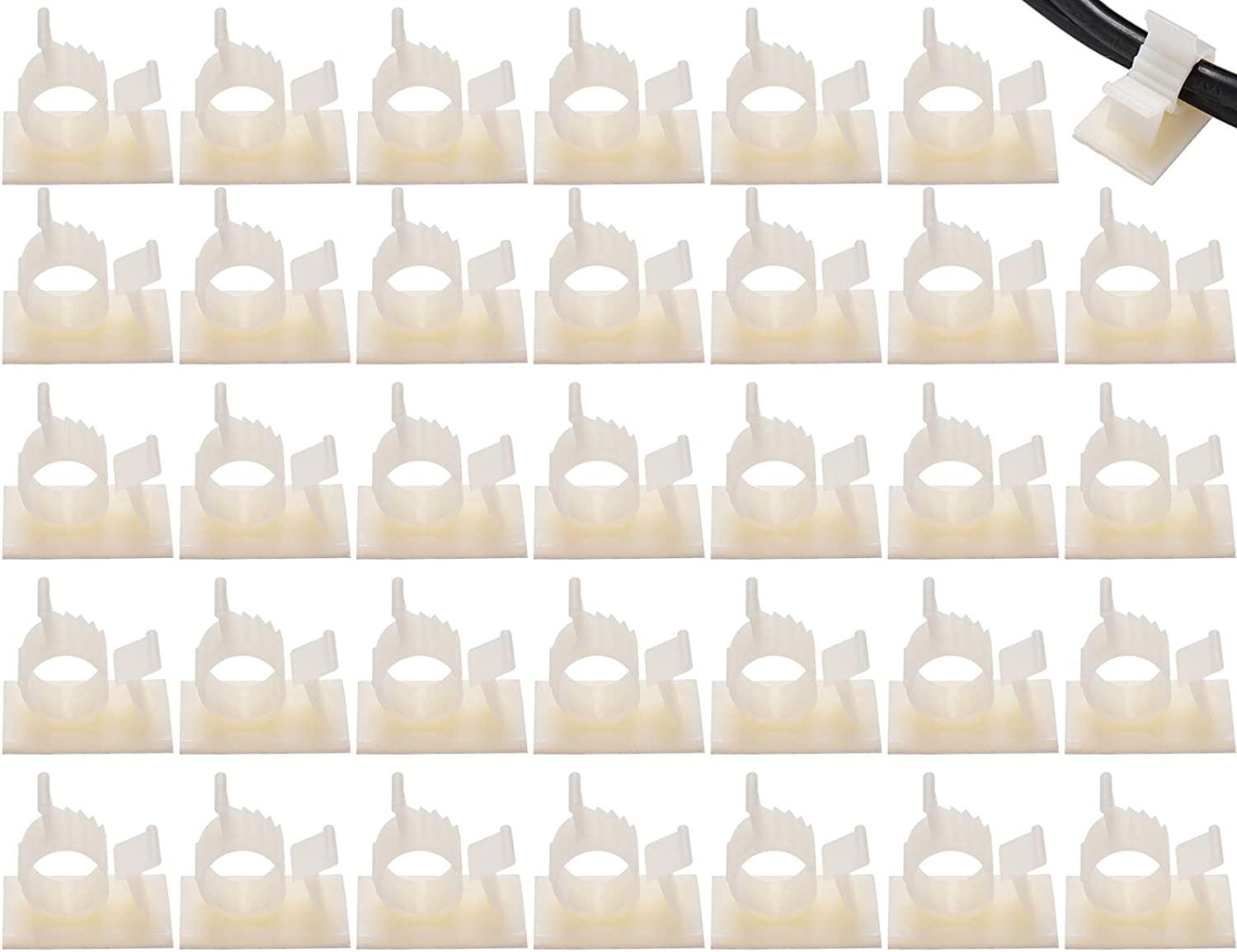 NICEKEY 35 PCS Adjustable Cable Clips With Strong Adhesive Nylon Cable Clamps Management Drop Wire Holder for Car, Home and Office (35 PCS, White)