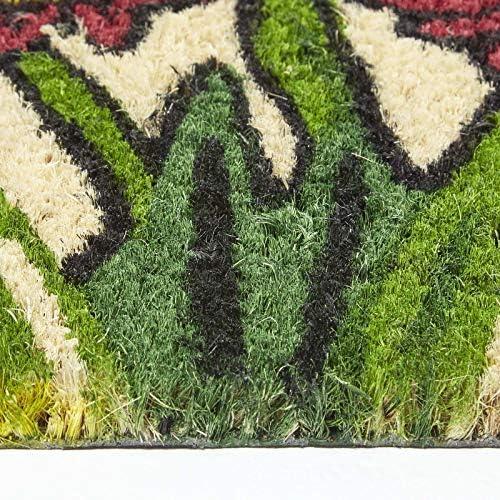 HOMESCAPES - Door Mat - Floral Garden - 40 x 70 cm - 100% Natural Coir Mat- Indoor Outdoor doormat - Colourful Gift