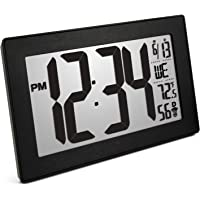 Marathon Atomic Self-Setting Self-Adjusting Wall Clock w/Stand & 8 timezones - Batteries Included (Black/Black Stainless Steel)