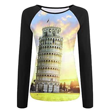 02b3f36b71bc1 Drunk Alone Miracle Leaning Tower Of Pisa Women's Printing Raglan Long  Sleeve Tops Sweatshirt T-Shirt at Amazon Women's Clothing store: