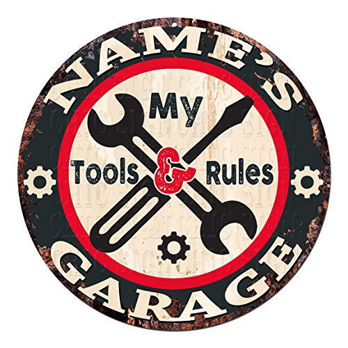 (ANY NAME'S MY TOOLS MY RULES GARAGE Custom Personalized Chic Tin Sign Rustic Shabby Vintage style Retro Kitchen Bar Pub Coffee Shop man cave Garage Decor Gift Ideas )