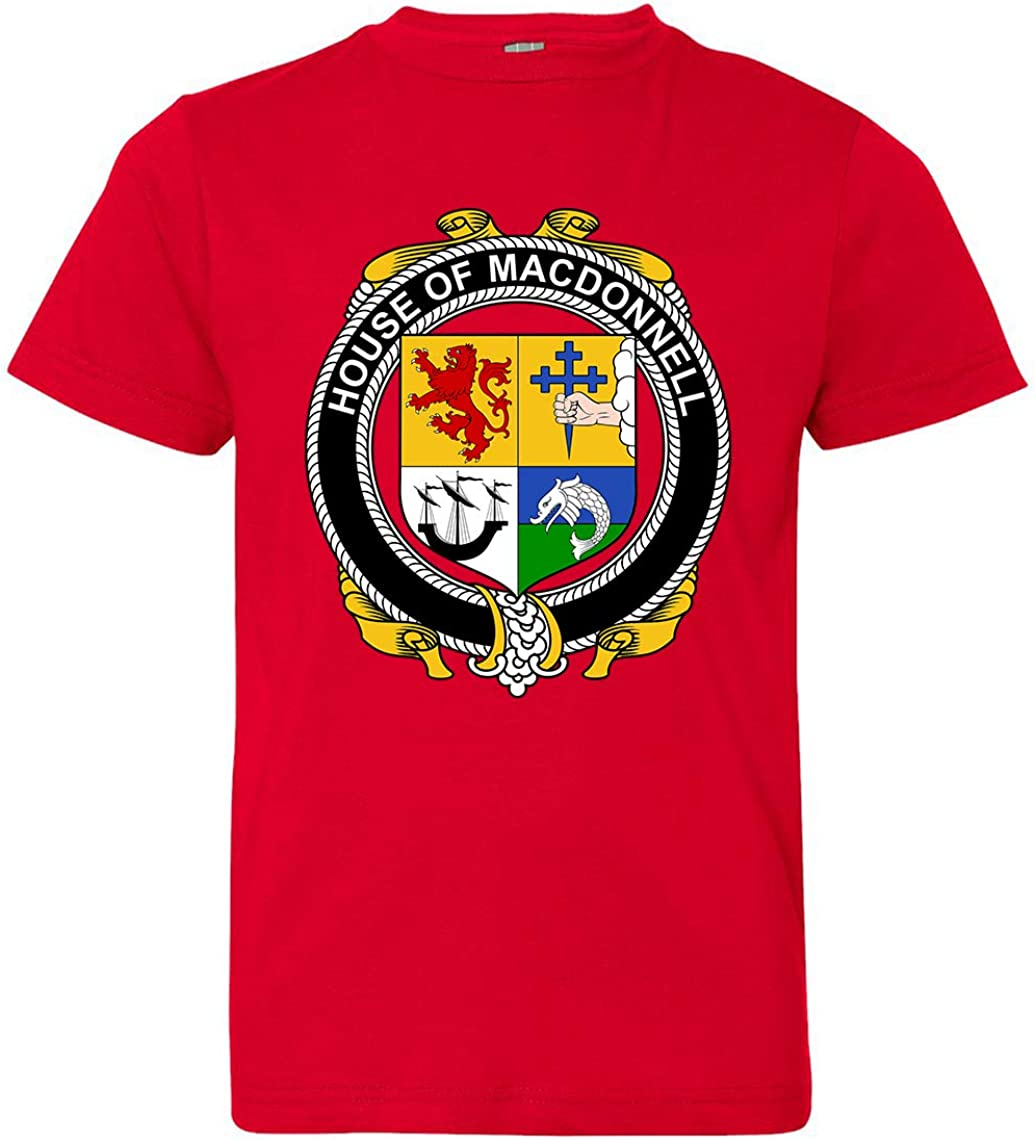 Red Tenacitee Boys Youth Irish House Heraldry Macdonnell of The Glens T-Shirt Medium