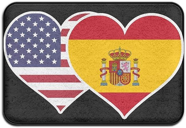 Zcfhike - Felpudo Interior y Exterior, diseño de Bandera de España Americana, diseño de corazón para Cocina o baño, 60 x 60 cm: Amazon.es: Hogar