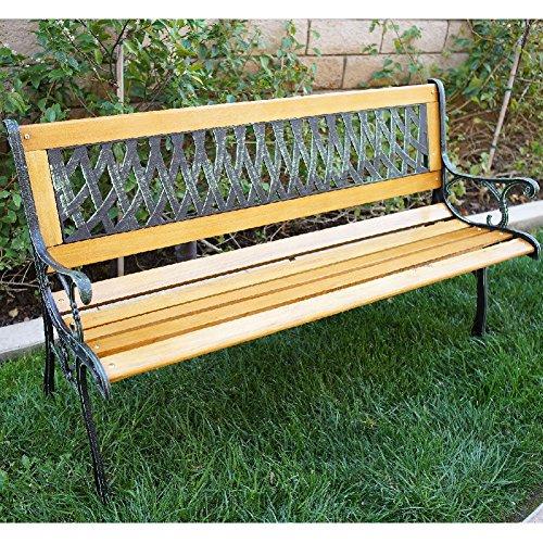 Cast Iron Gazebo (Outdoor Patio Garden Hardwood Slats Bench Furniture Cast Iron Frame Park)