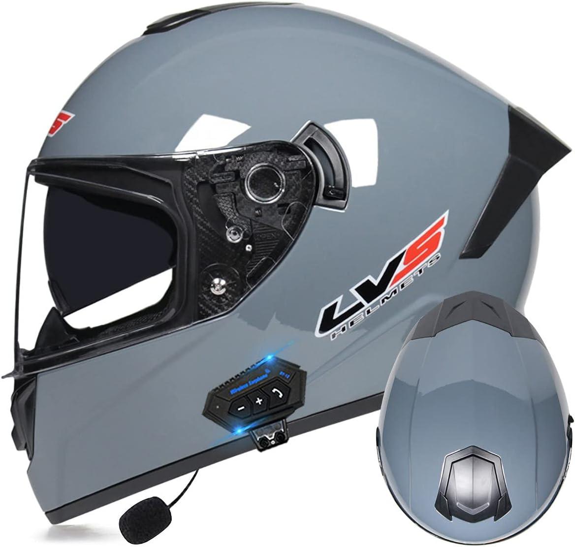 Casco De Motocicleta con Bluetooth, Casco Motocicleta Cara Completa Aprobado por ECE con Visera Antivaho Doble, Cascos Carreras Cara Completa con Altavoz Integrado
