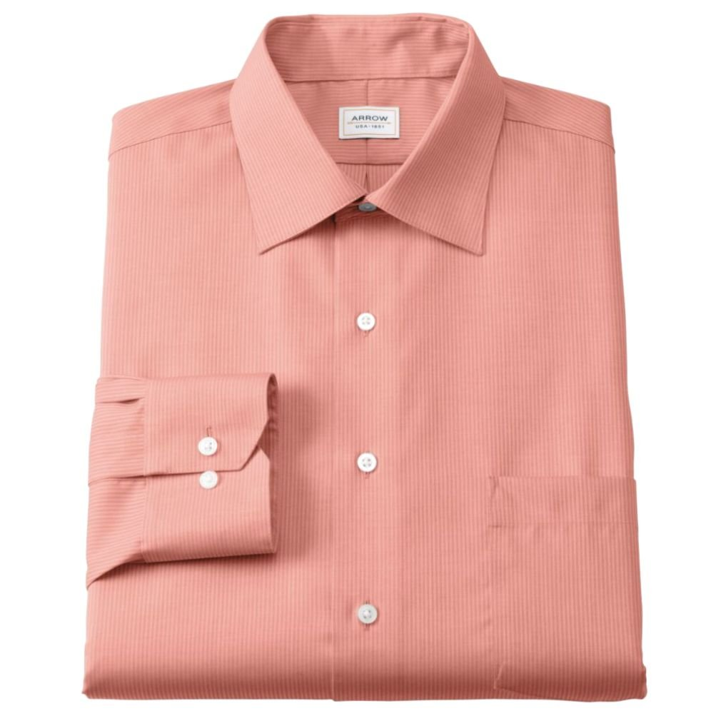Arrow Mens Classic Fit 100 Cotton Dress Shirt Sienna Coral At