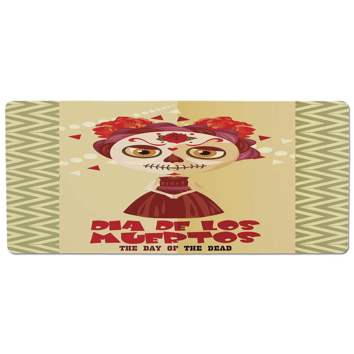35.4\ Pet Mat for Food and Water,Day of The Dead Decor,Spanish Dia de Los Muertos Print Girl with Gothic Makeup,Cream Burgundy and Red,Rectangle Non-Slip Rubber Mat for Dogs and Cats